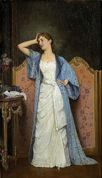 Young Woman by the Screen by Auguste Toulmouche