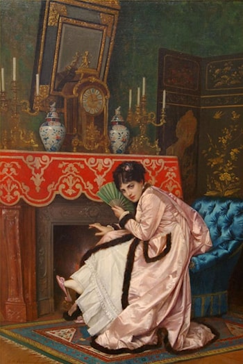 Woman Sitting in Front of a Fireplace by Auguste Toulmouche
