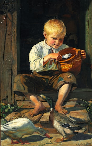 Dreng fodrer ænder by Michael Peter Ancher