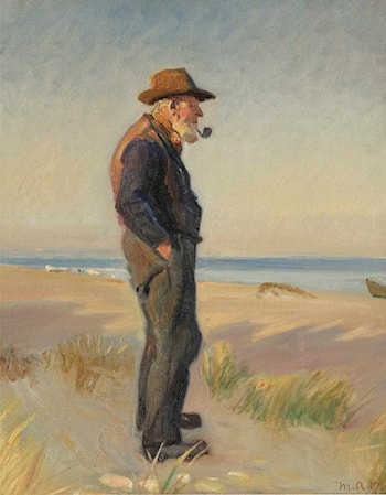 Pipe Smoking Fishermen at Skagen Beach by Michael Peter Ancher