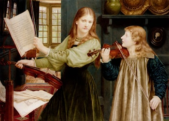 The Duet, Portrait Of Alexandra, Daughter Of Rev. G. Kitchin And Winifrid, Daughter Of The Painter by Henry Holiday