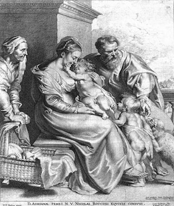 Holy Family with St John and St Elizabeth by Lucas Vorsterman