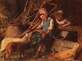 Feeding the Lambs by Gaetano Chierici
