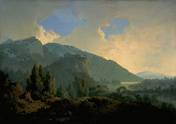An Italian Landscape with Mountains and a River by Joseph Wright of Derby