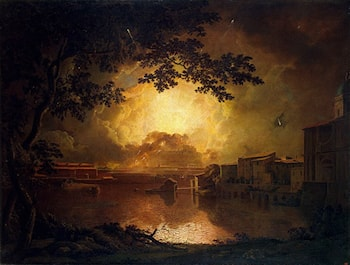 Firework Display at the Castel Sant' Angelo in Rome by Joseph Wright of Derby