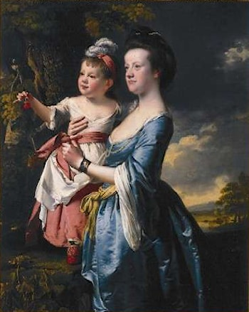 Portrait of Sarah Carver and her daughter Sarah by Joseph Wright of Derby