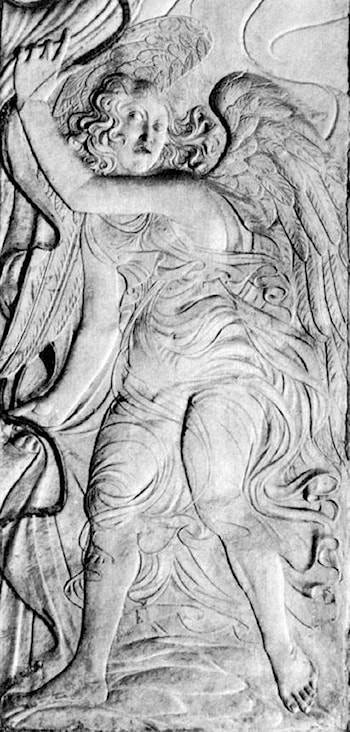 An angel drawing back a curtain by Agostino di Duccio