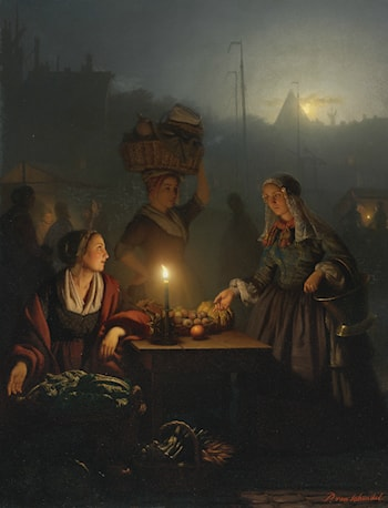 Buying Fruit and Vegetables at the Night Market by Petrus Van Schendel