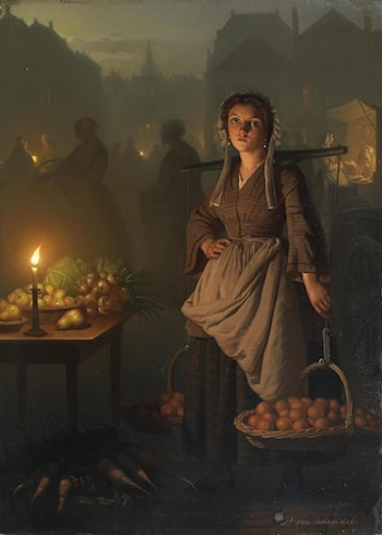 Market by Candlelight by Petrus Van Schendel