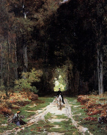 Equestrienne on a Wooded Lane by Jules Joseph Augustin Laurens