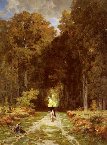 Equestrienne on a Woodland Lane by Jules Joseph Augustin Laurens