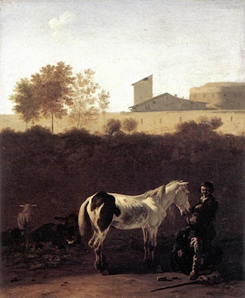 Italian Landscape with Herdsman and a Piebald Horse by Karel Dujardin