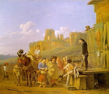 A Party of Charlatans in an Italian Landscape by Karel Dujardin