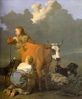 Woman Milking a Red Cow by Karel Dujardin