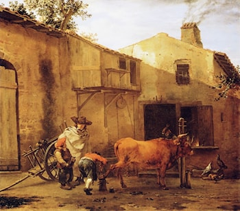 A Smith Shoeing an Ox by Karel Dujardin