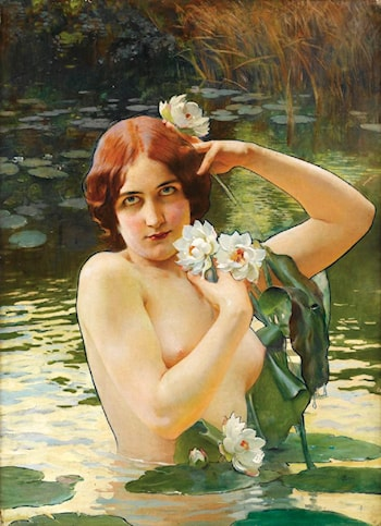 Young Girl with Water Lilies by Paul Jean Gervais
