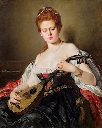 Woman with Mandolin by Madeleine Jeanne Lemaire