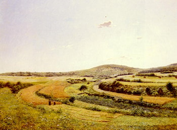Harvesters In An Extensive Landscape by Jean Ferdinand Monchablon