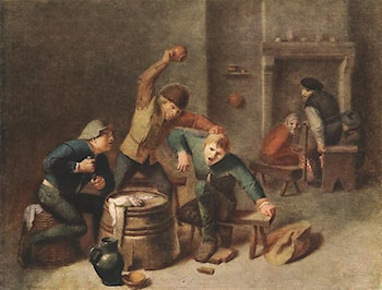 Brawling Peasants by Adriaen Brouwer