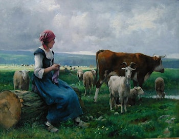 Shepherdess with Goat, Sheep and Cow by Julien Dupre