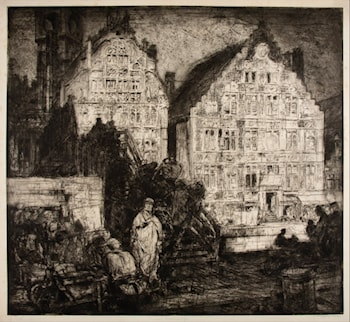 Old Houses (Gant)  by Sir Frank Brangwyn, R.A.