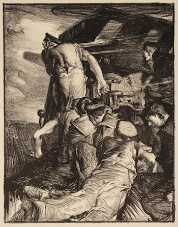 Making Sailors: The Gun by Sir Frank Brangwyn, R.A.