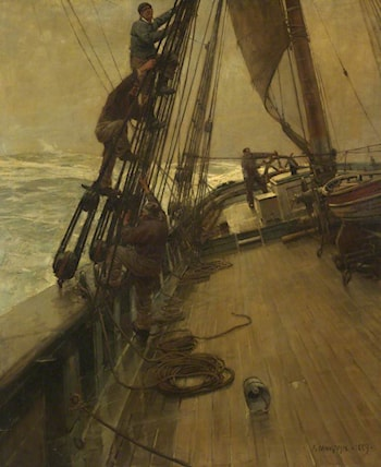 All Hands Shorten Sail by Sir Frank Brangwyn, R.A.