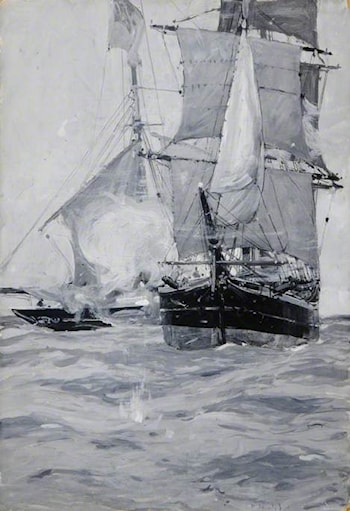 Sailing Ships at Sea by Sir Frank Brangwyn, R.A.