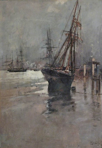 A Ship Beached at Low Tide by Sir Frank Brangwyn, R.A.