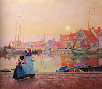 A Dutch Fishing­Village At Dusk With Figures On A Quay by Hans Herrmann