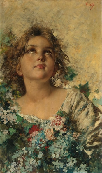 Girl with Flowers by Vincenzo Irolli