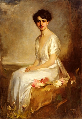 Portrait of an Elegant Young Woman in a White Dress by Artur Lajos Halmi