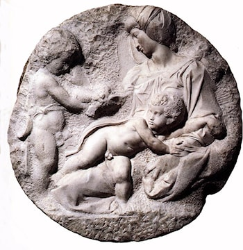 Madonna and Child with the Infant Baptist by Michelangelo