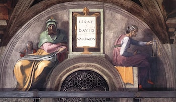 Lunette XI ­ Jesse, David and Solomon, Sistine Chapel by Michelangelo