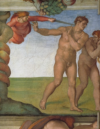 Ceiling of the Sistine Chapel: Genesis, The Fall and Expulsion from Paradise - The Original Sin by Michelangelo