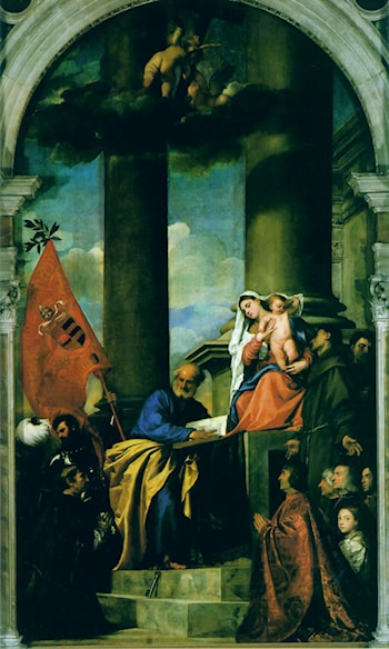Madonna with Saints and Members of the Pesaro Family by Titian