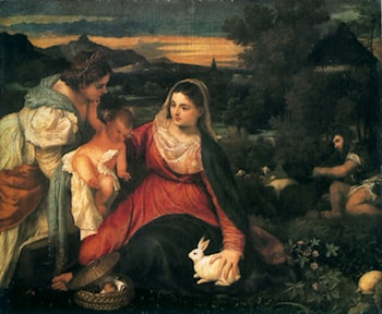 Madonna and Child with St. Catherine and a Rabbit by Titian