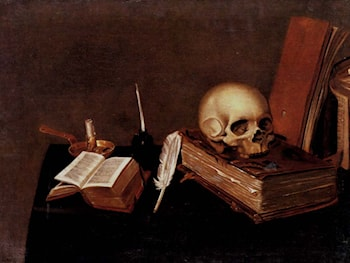 A vanitas still life with a candle, an inkwell, a quill pen, a skull and books by Michael Konrad Hirt