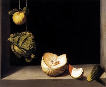 Still­life with Quince, Cabbage, Melon and Cucumber by Juan Sanchez Cotan