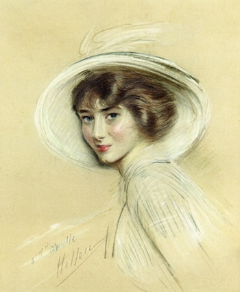 Annette, Wearing a White Hat by Paul Cesar Helleu