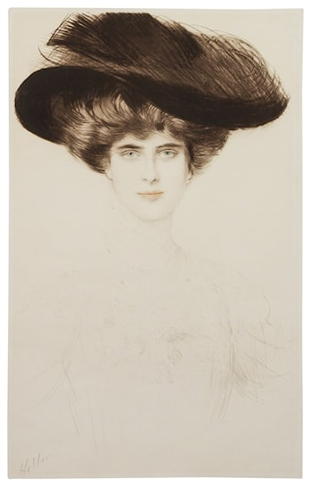 Elegant Lady in a Plumed Hat by Paul Cesar Helleu