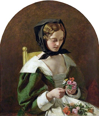 Girl Making a Bouquet of Flowers by Augustus Leopold Egg