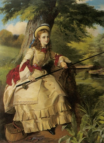 A Young Lady Fishing by William Maw Egley