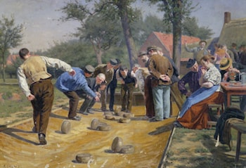 Playing Boules iin a Flemish Village by Remy Cogghe