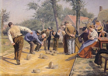 A Game of Bowls in the Village Square by Remy Cogghe