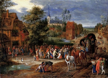 A village kermesse with a horse­drawn cart in the foreground by Pieter Gysels