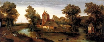 A moated tower with farmhouses by Abel Grimmer