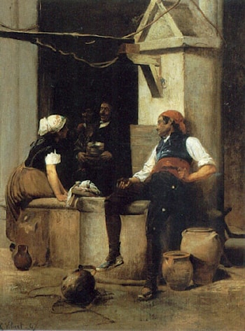 Chatting by the Fountain by Jehan Georges Vibert
