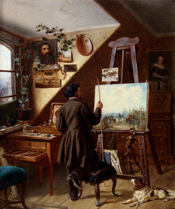 Painting Horses In The Studio, A Self Portrait by Gustav Adolf Friedrich