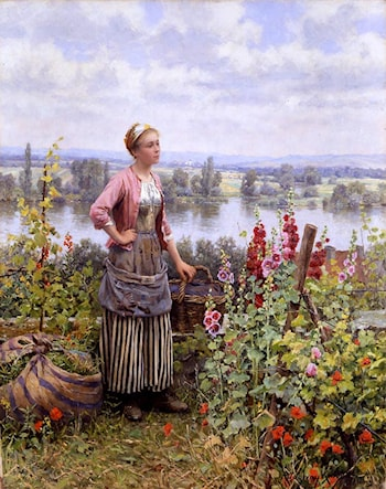 Maria on the Terrace with a Bundle of Grass by Daniel Ridgway Knight